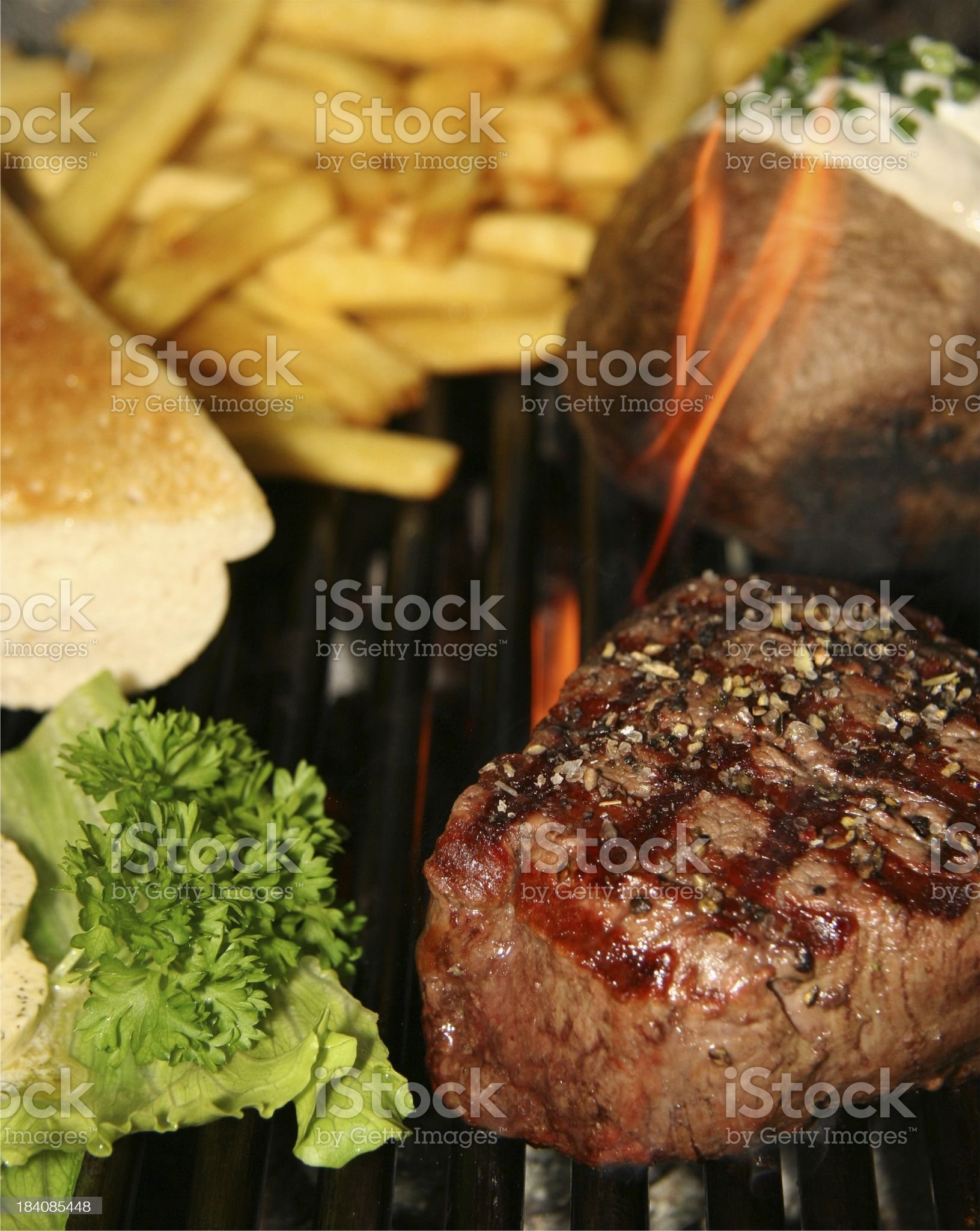 grilled fillet beef steak with typical Steakhouse supplements royalty-free stock photo
