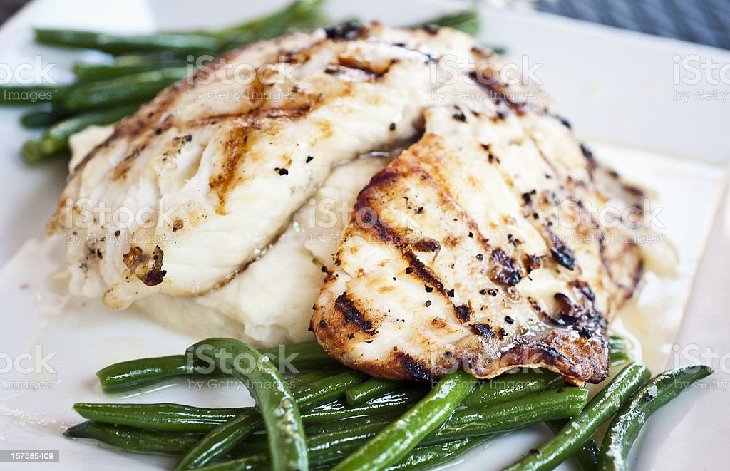 Grilled fillet of fish stock photo