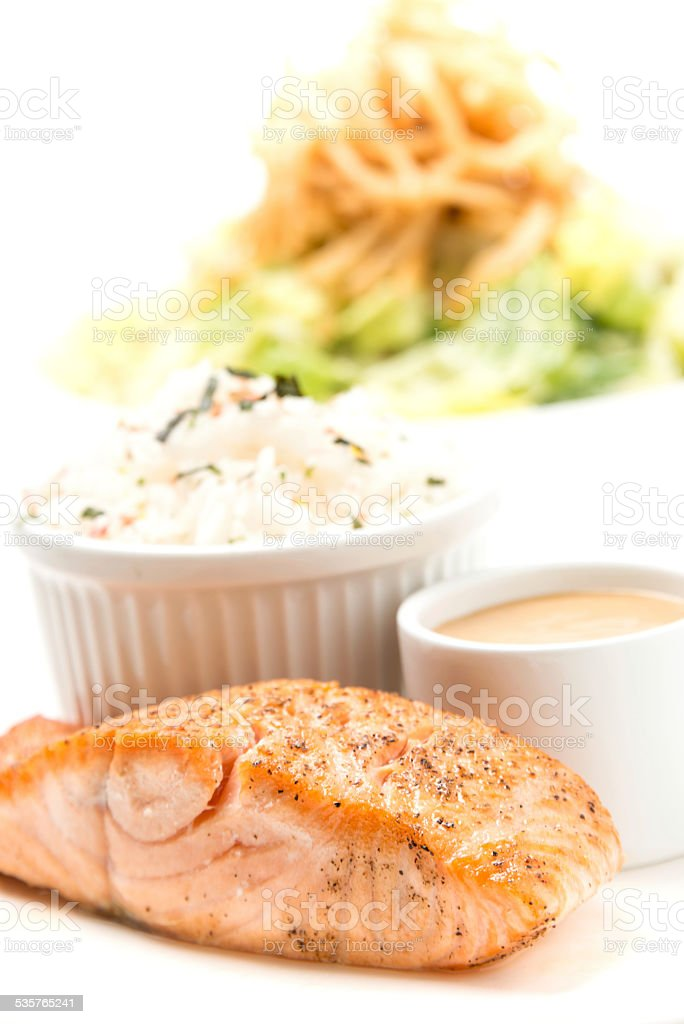 Grilled fillet of Salmon stock photo