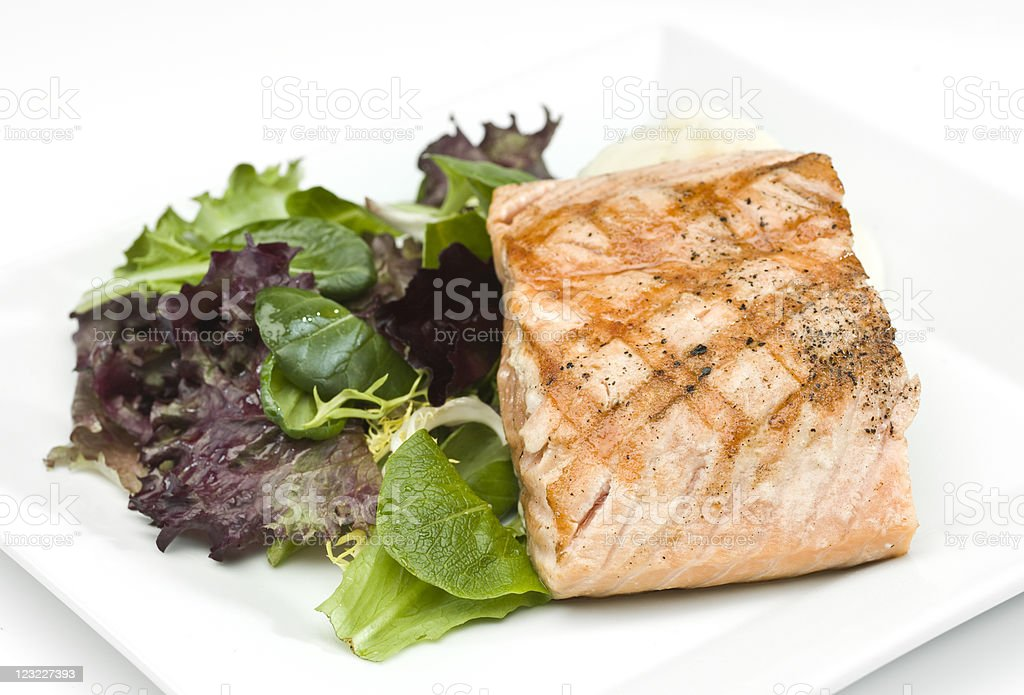 Grilled Fillet of Salmon with Salad royalty-free stock photo