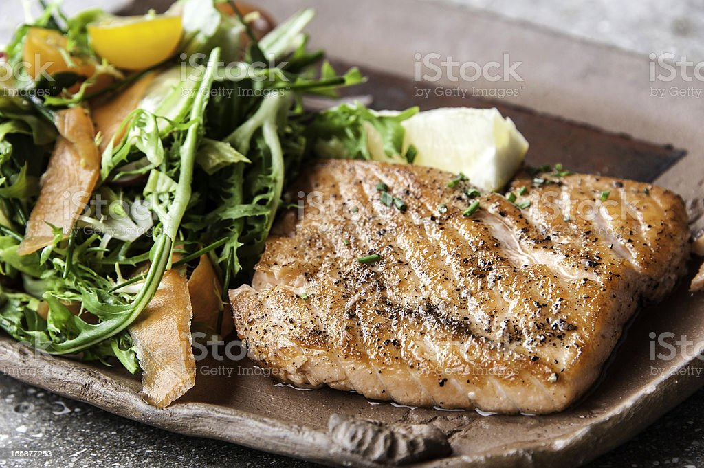 Grilled fillet of wild salmon stock photo