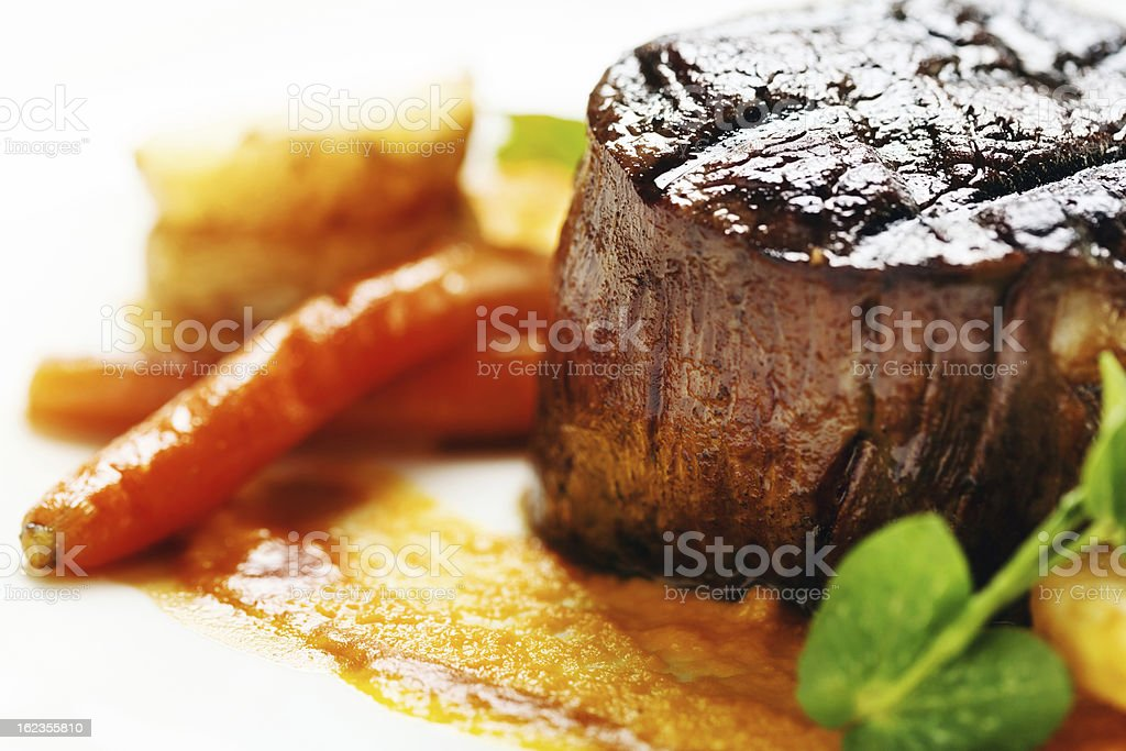 Grilled fillet steak looking juicy and delicious stock photo