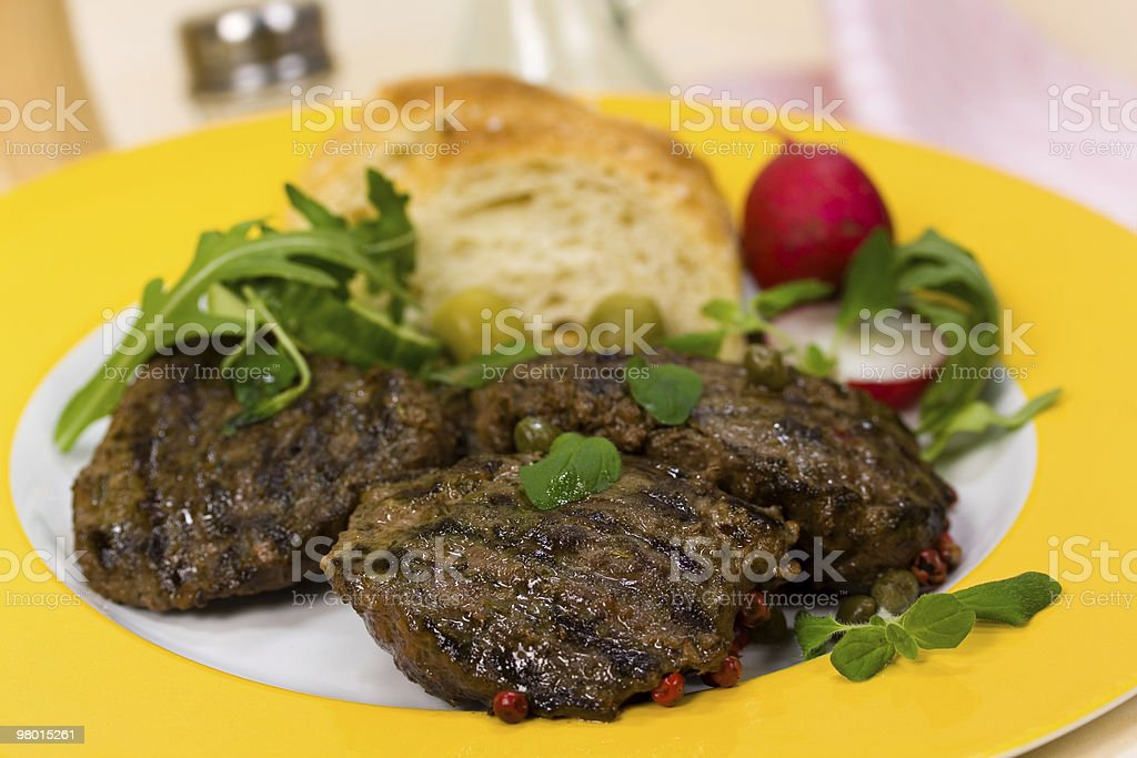 Grilled Fillet-Sirloin, Steak of Lamb royalty-free stock photo
