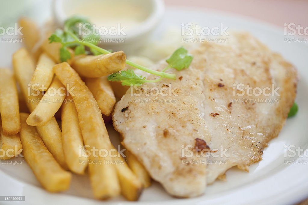Grilled fish and chips royalty-free stock photo