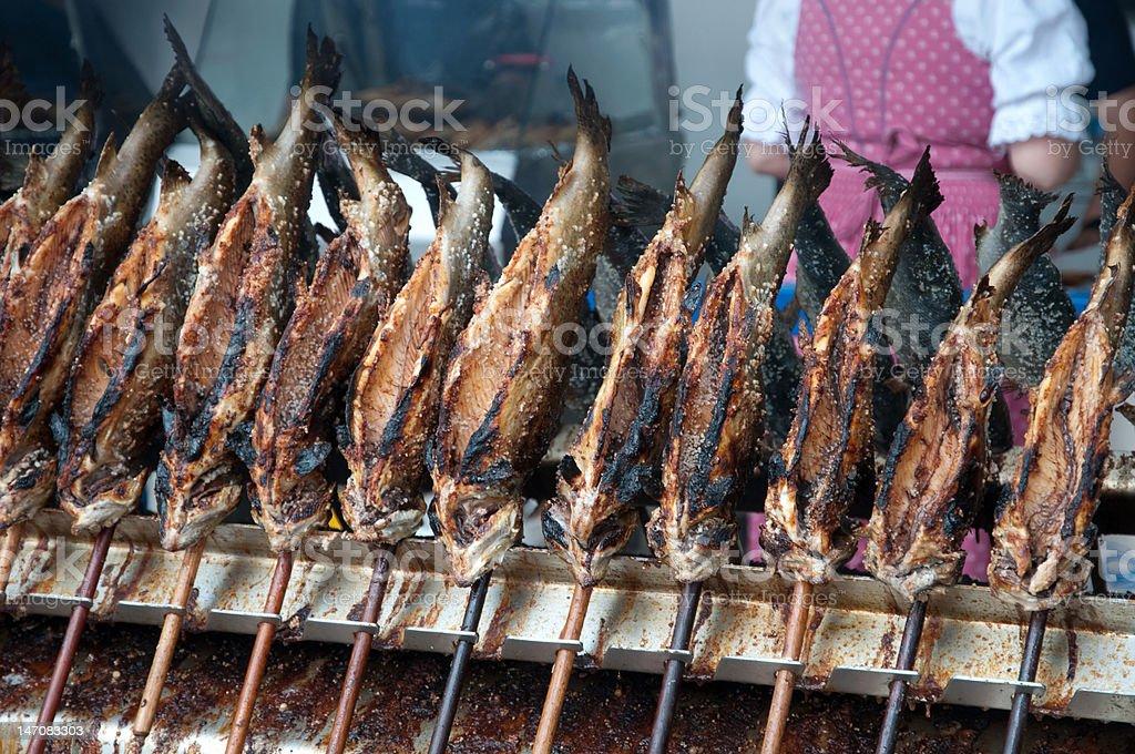 Grilled fish (Steckerlfisch) at the Munich Oktoberfest stock photo