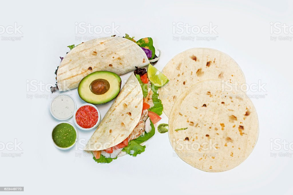 Grilled fish corn taco stock photo