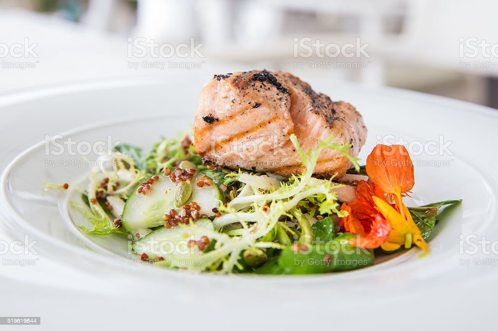 Grilled fish for diet meal stock photo