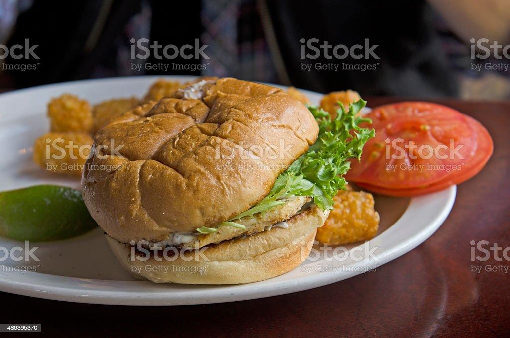 Grilled fish hamburger sandwich stock photo