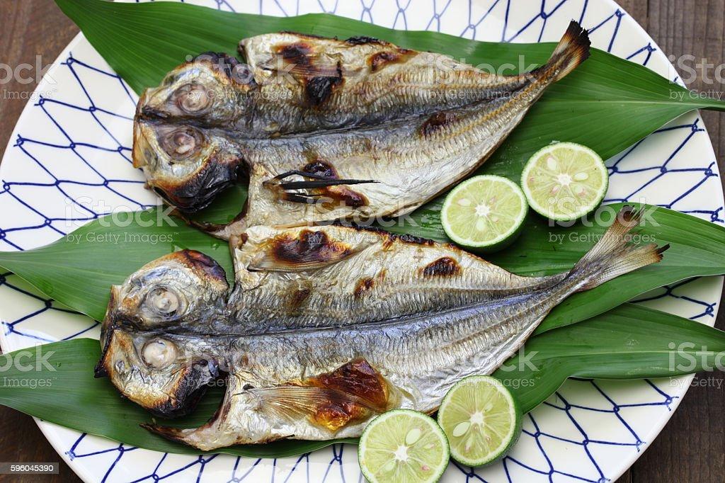 grilled fish ( horse mackerel ), japanese cuisine stock photo