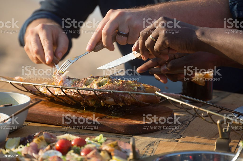 Grilled Fish Lunch stock photo