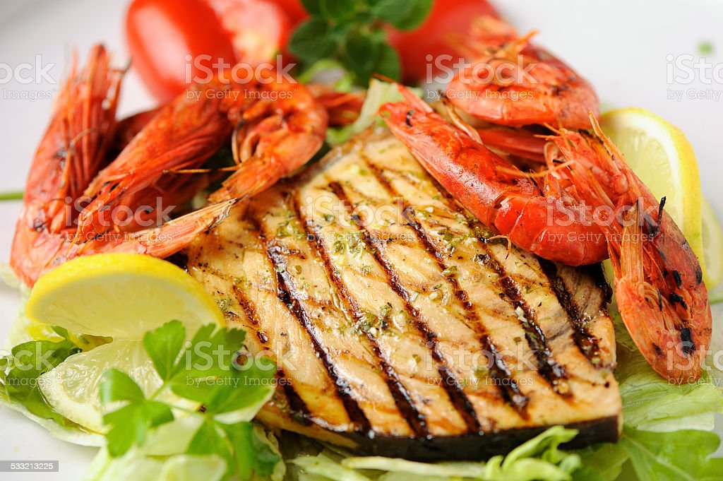 Grilled fish mix stock photo