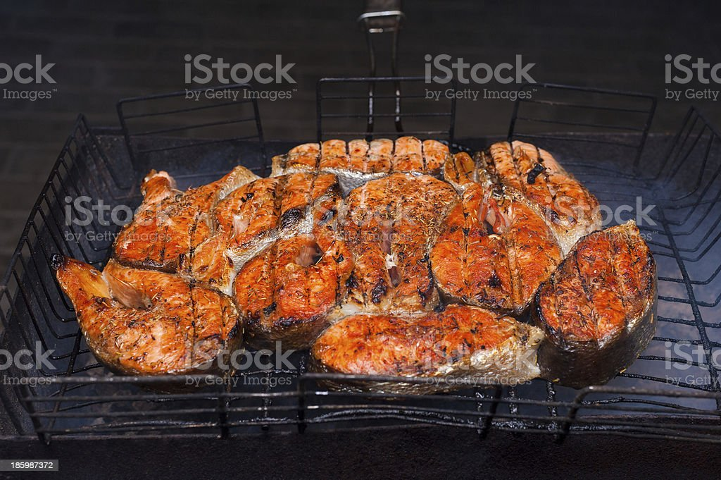 grilled fish on a grill royalty-free stock photo