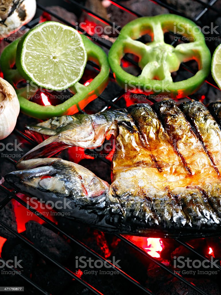 Grilled Fish. stock photo