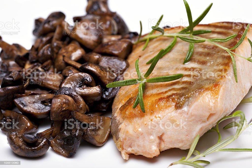 Grilled fish, salmon steak royalty-free stock photo