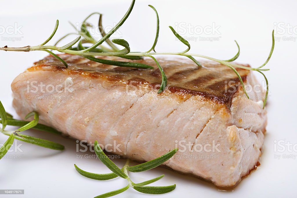 Grilled fish, salmon steak royalty-free stock photo