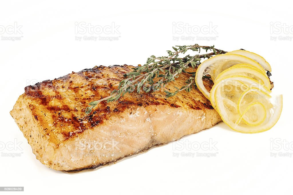Grilled fish, salmon steak stock photo