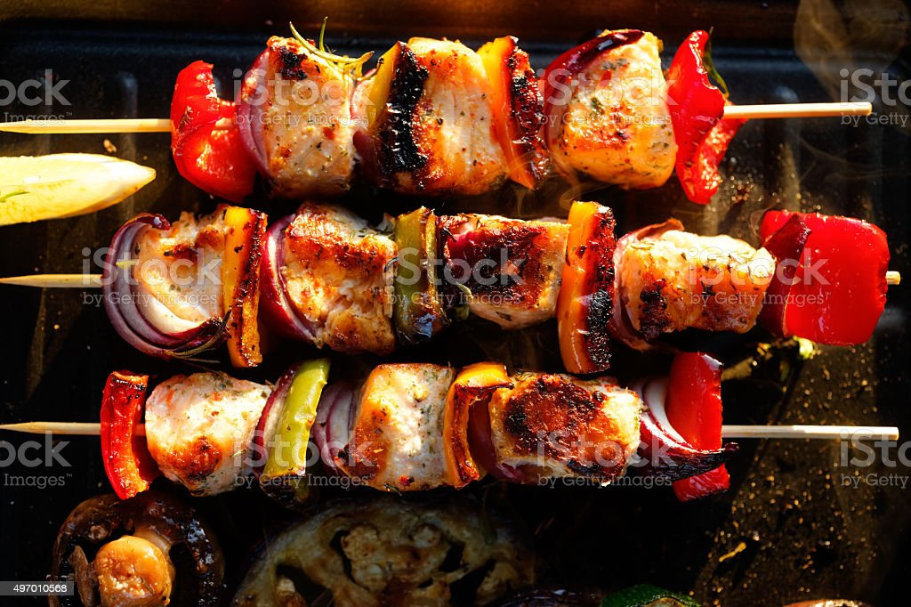 Grilled fish skewers stock photo