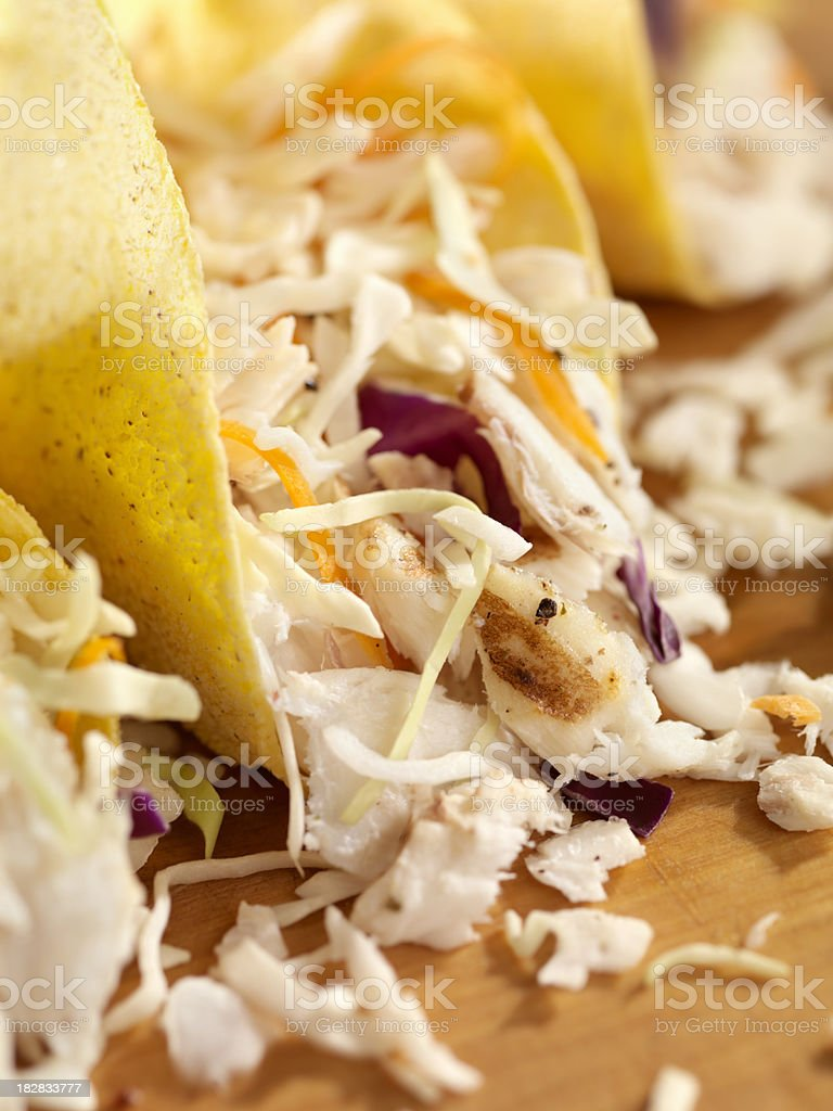 Grilled Fish Tacos with Coleslaw royalty-free stock photo
