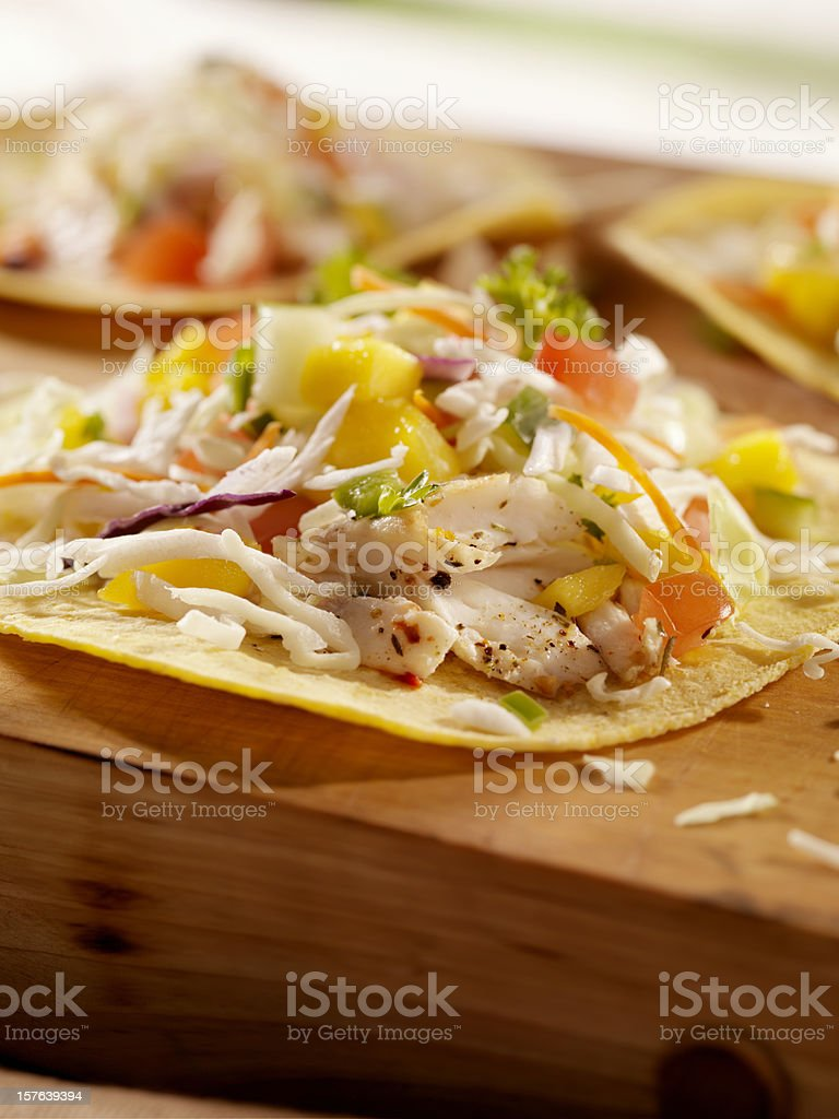 Grilled Fish Tacos with Mango Salsa royalty-free stock photo