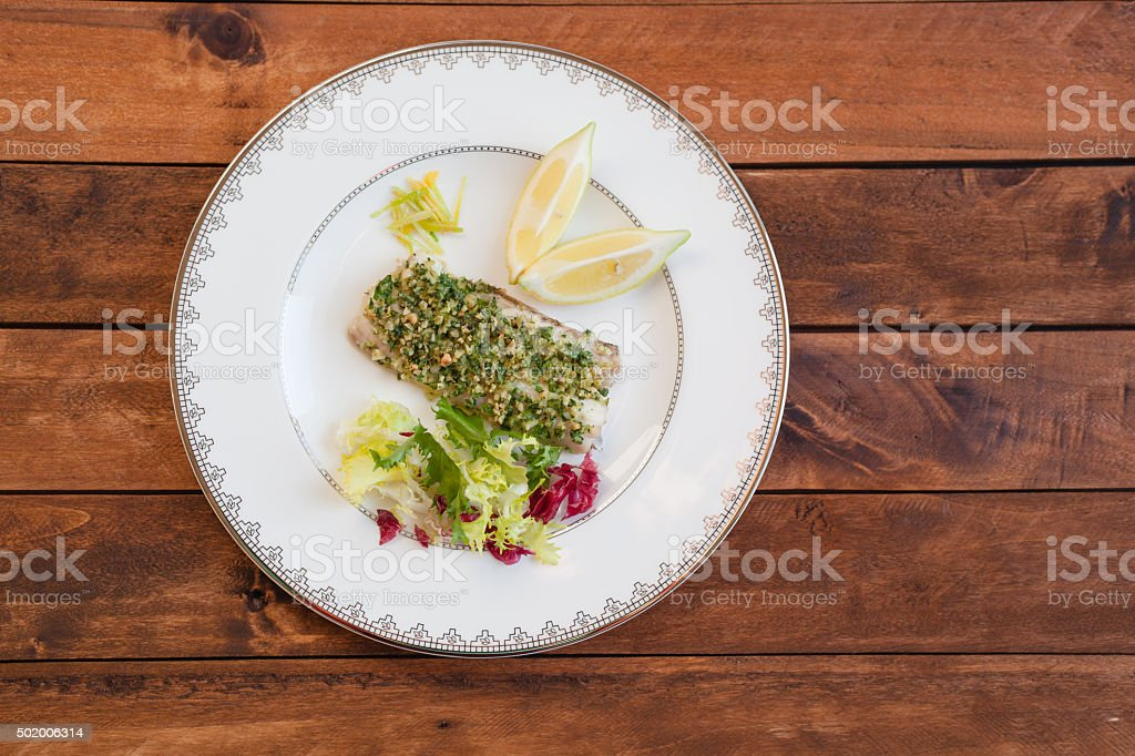 Grilled Fish with Gremolada stock photo