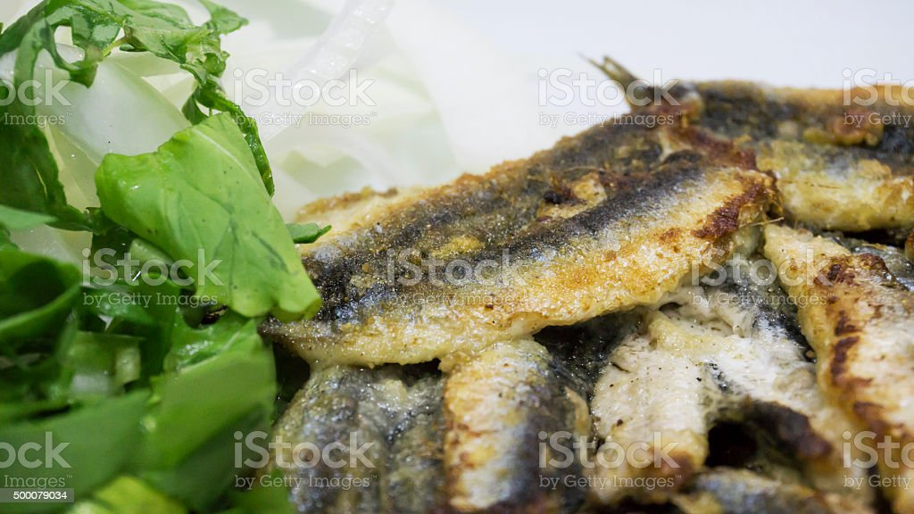 Grilled fish with salad stock photo