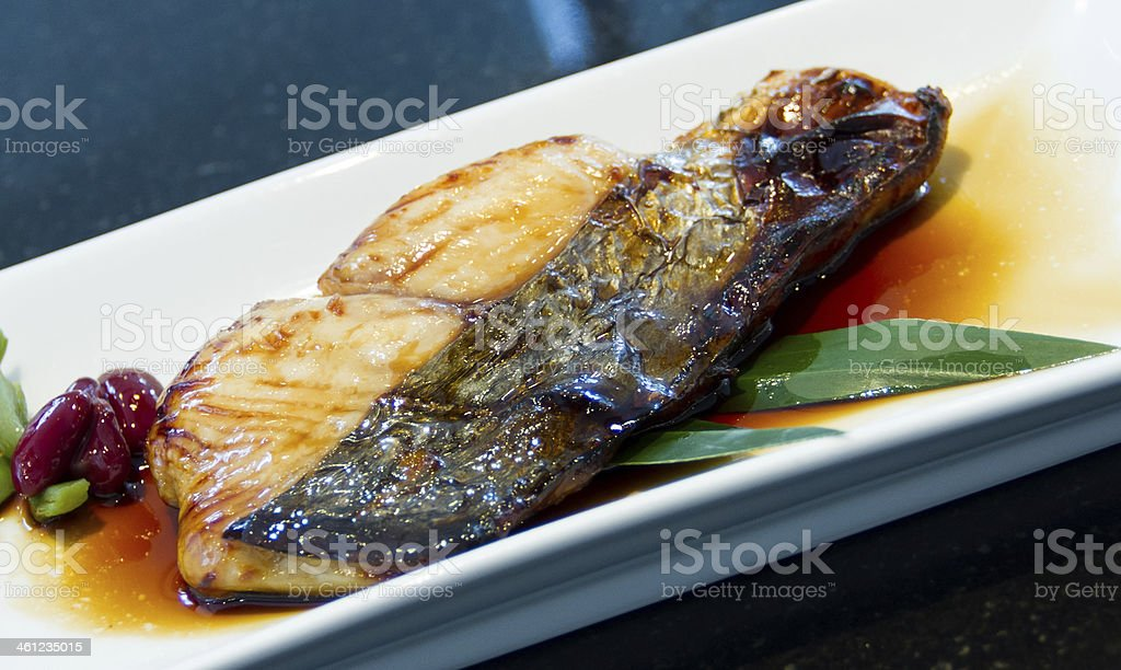 Grilled fish with soy sauce stock photo