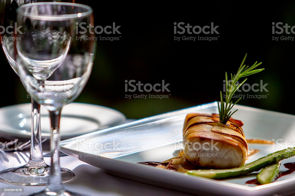 Grilled Fish With Vegetable stock photo