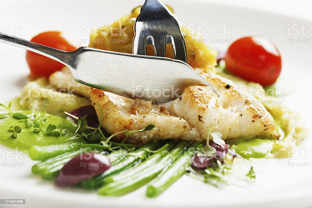 Grilled fish with vegetables: healthy and delicious stock photo