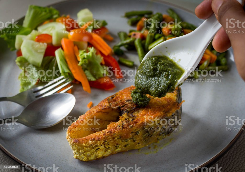 Grilled Fish with Veggies stock photo