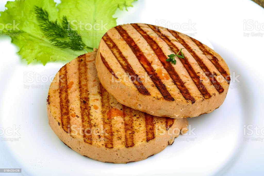 Grilled fishcake stock photo