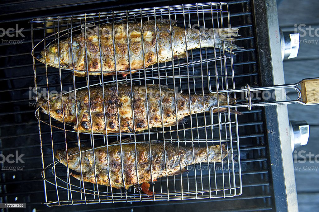 grilled fishes stock photo