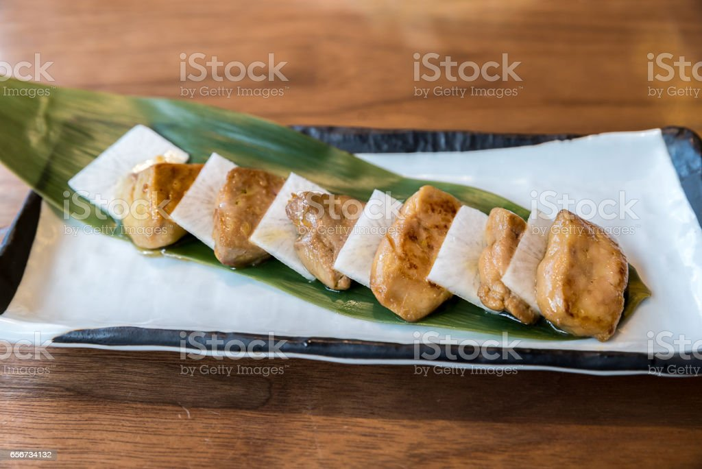 grilled foie gras stock photo