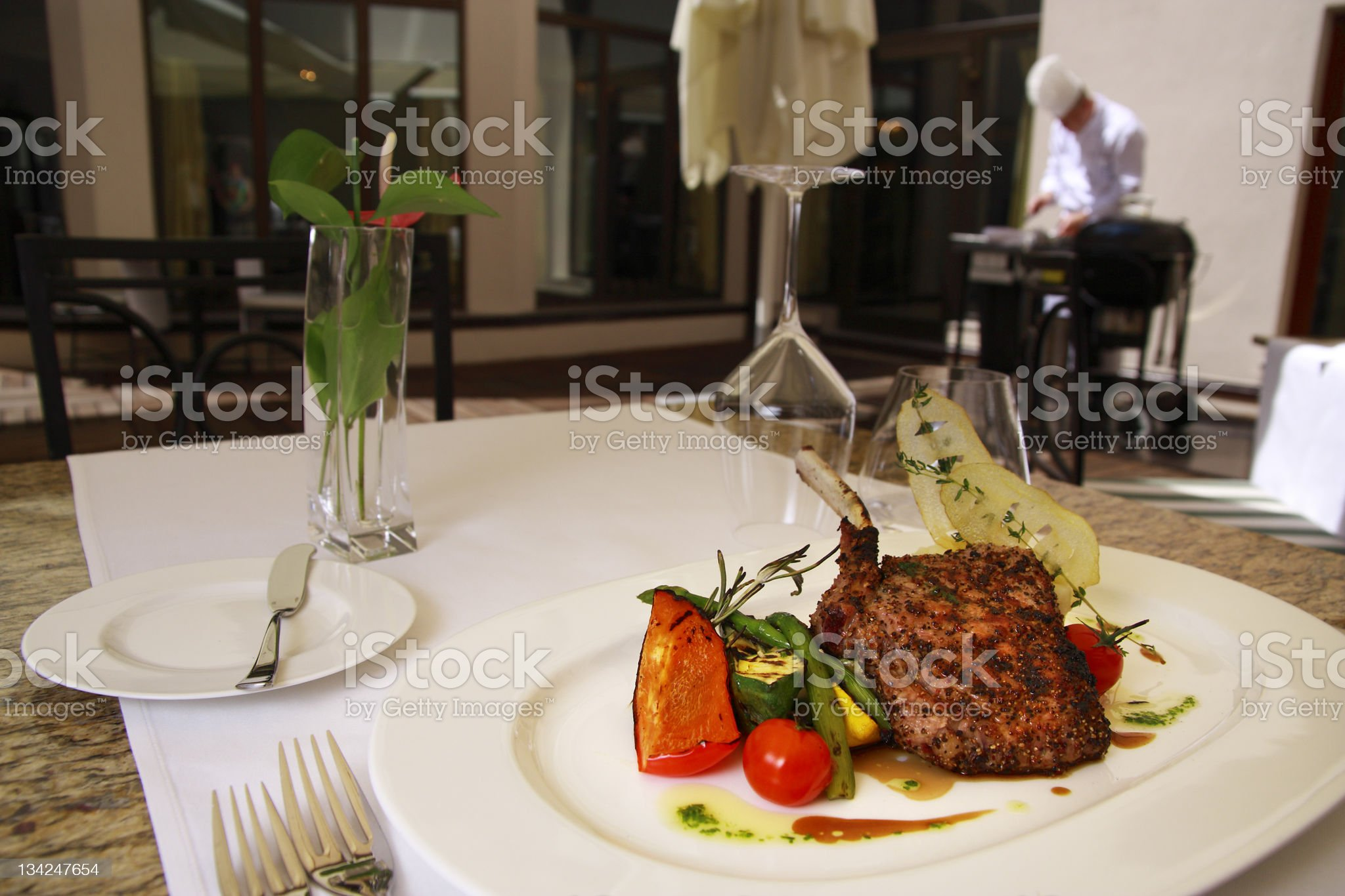 Grilled food on the dish royalty-free stock photo