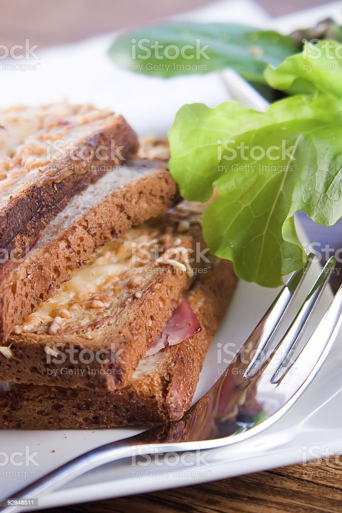 Grilled french sandwich with salad royalty-free stock photo