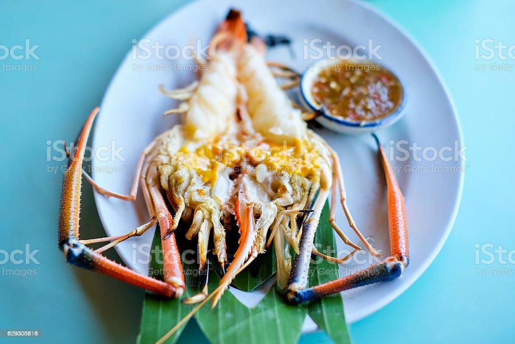 Grilled fresh big shrimp, river prawn stock photo