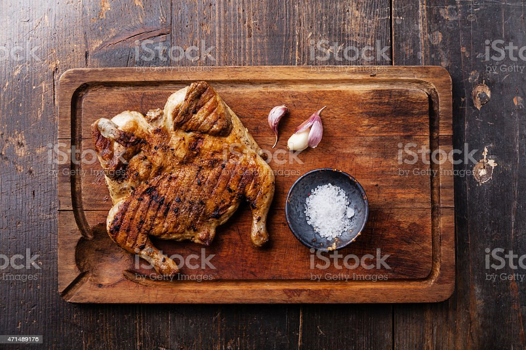 Grilled fried roast Chicken tobacco stock photo