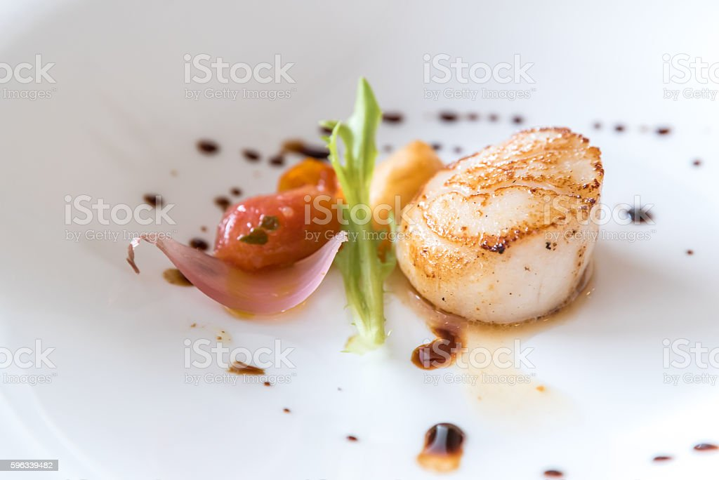 Grilled fried scallop stock photo