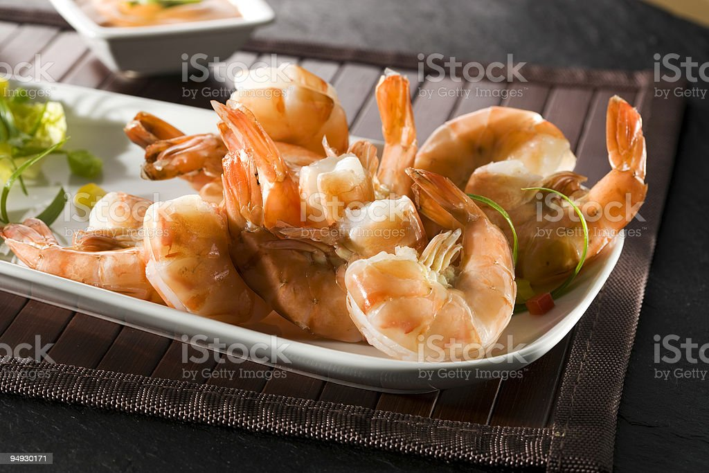 grilled giant shrimps on plate royalty-free stock photo