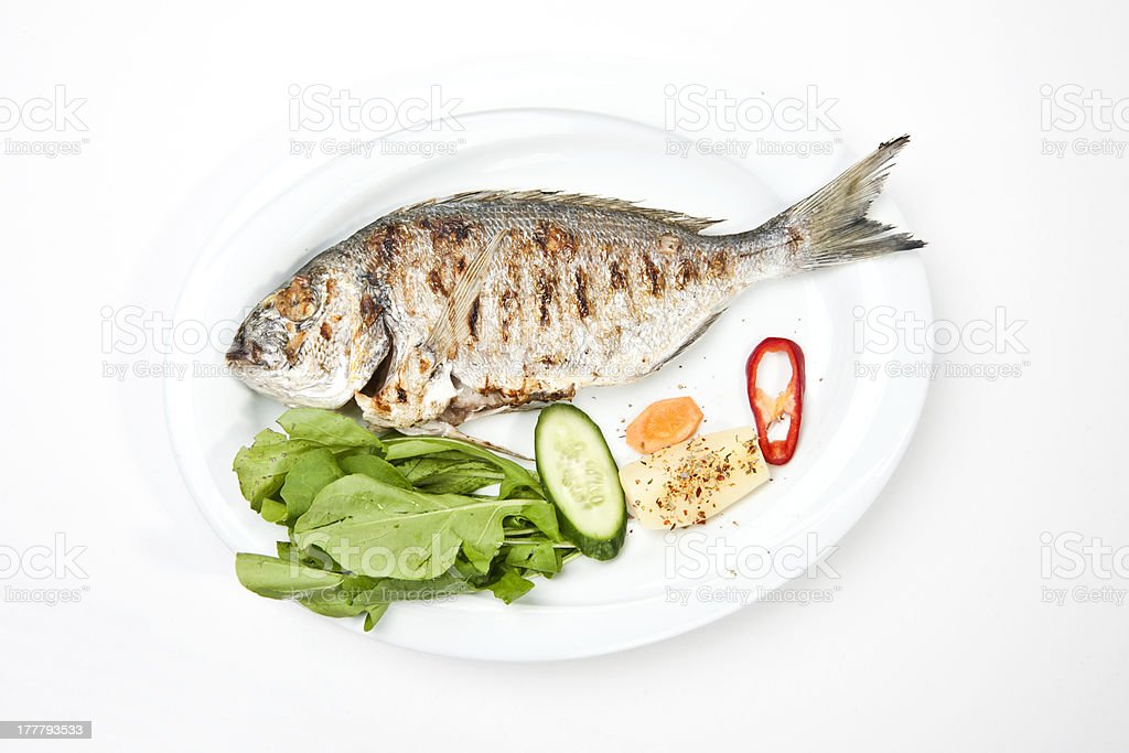 grilled gilthead bream royalty-free stock photo