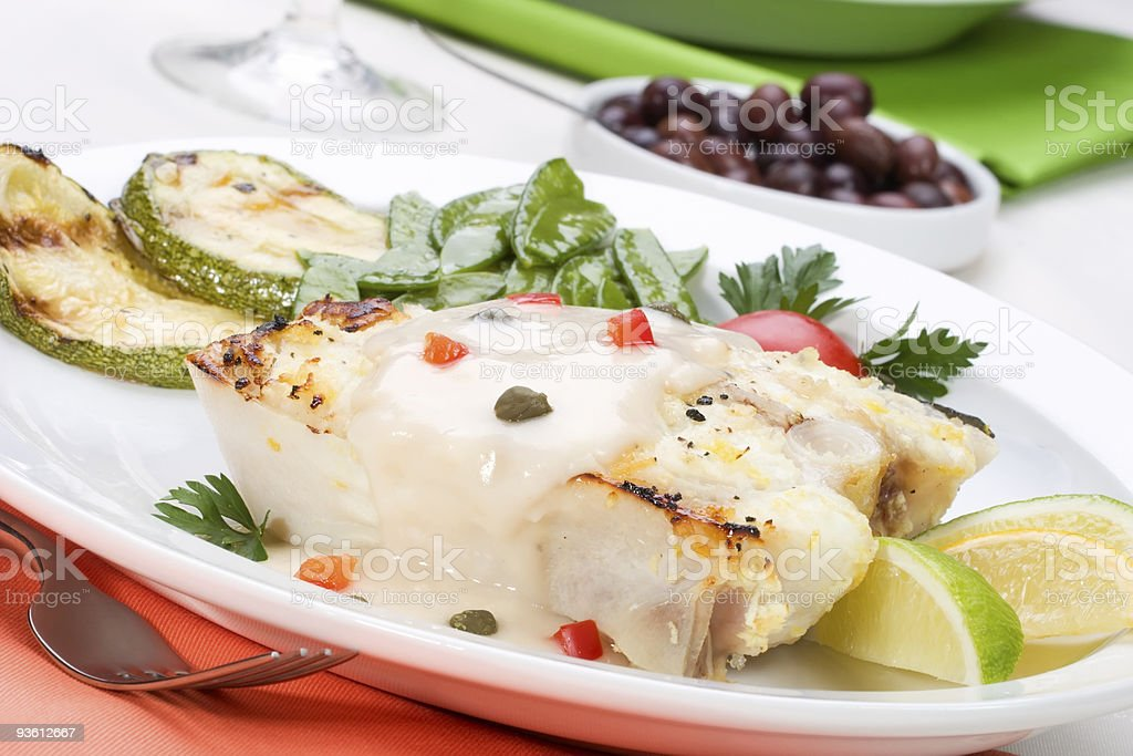 Grilled halibut royalty-free stock photo