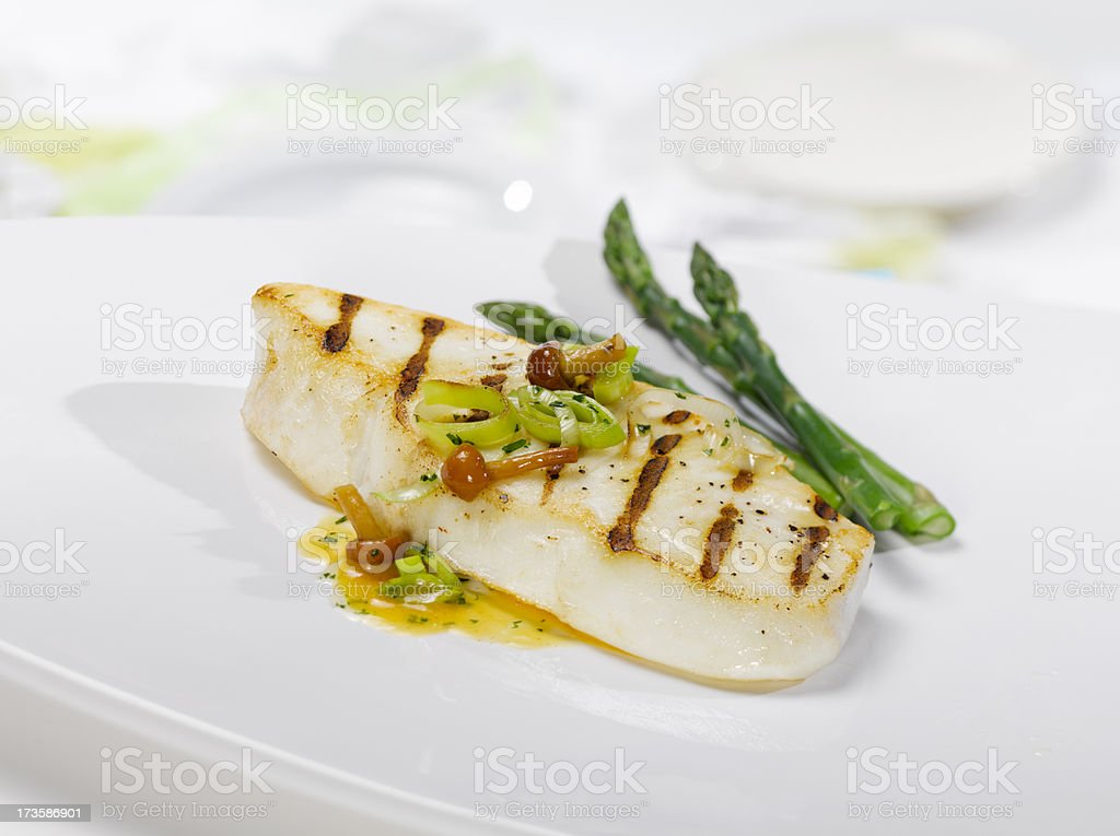 Grilled Halibut Steak stock photo