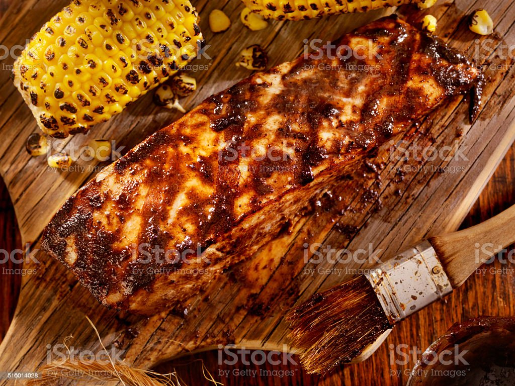 BBQ Grilled Halibut with Jerk BBQ Sauce stock photo