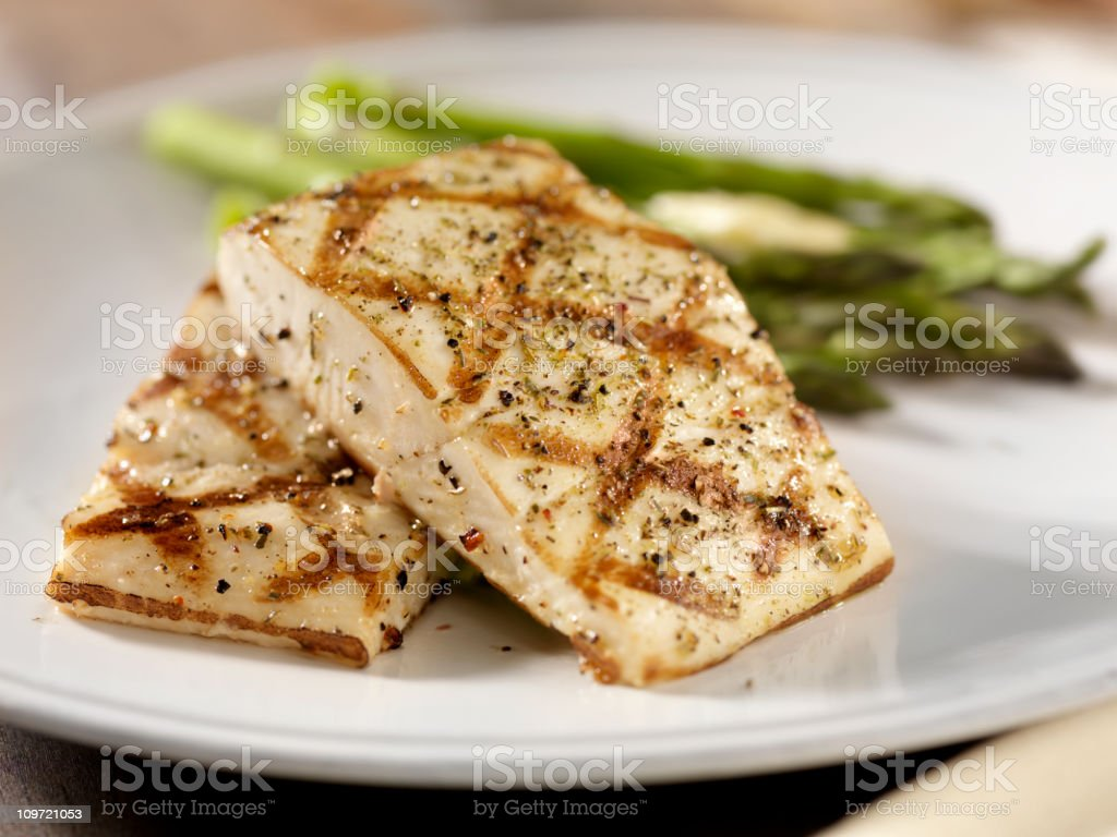 Grilled Halibut with Roasted Asparagus royalty-free stock photo