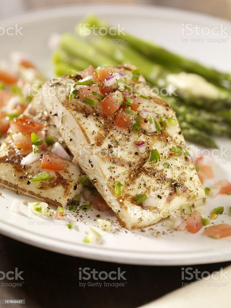 Grilled Halibut with Salsa and Roasted Asparagus royalty-free stock photo