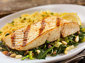 Grilled Halibut with Spinach, leeks and Rice