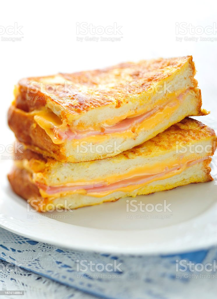 Grilled ham and cheese sandwiches stock photo