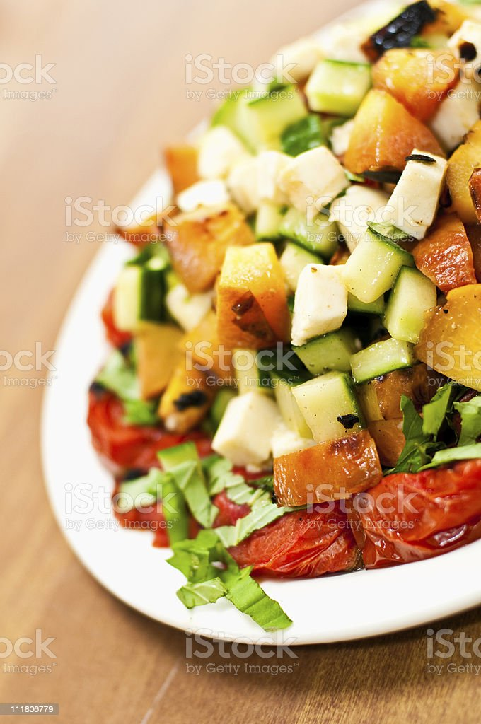 Grilled Heirloom Tomato Salad royalty-free stock photo
