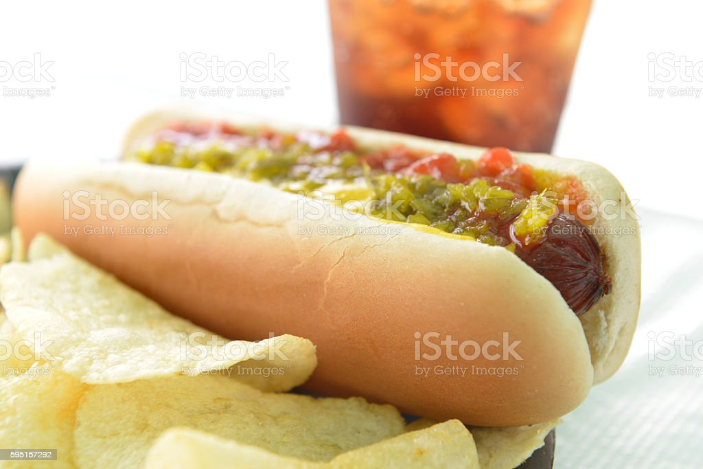 Grilled Hot Dog stock photo