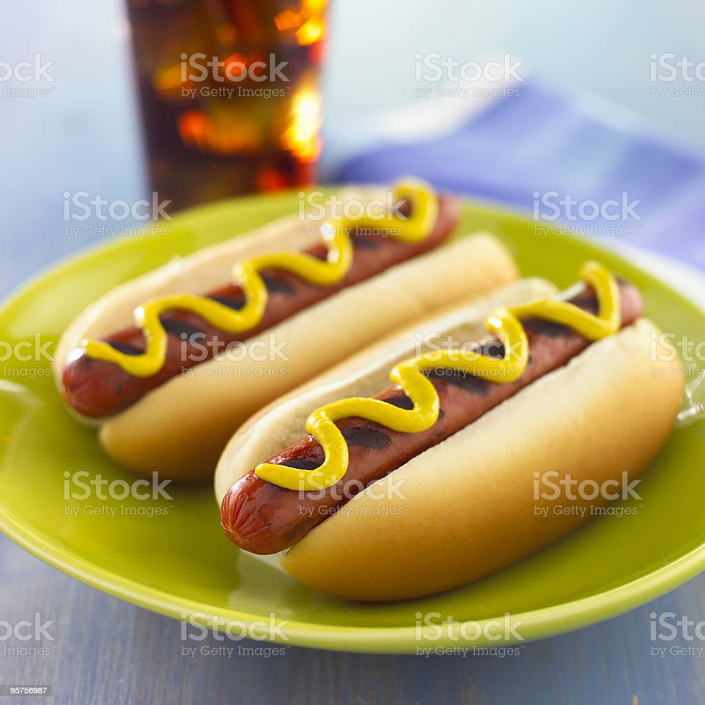 Grilled Hot Dogs with mustard royalty-free stock photo