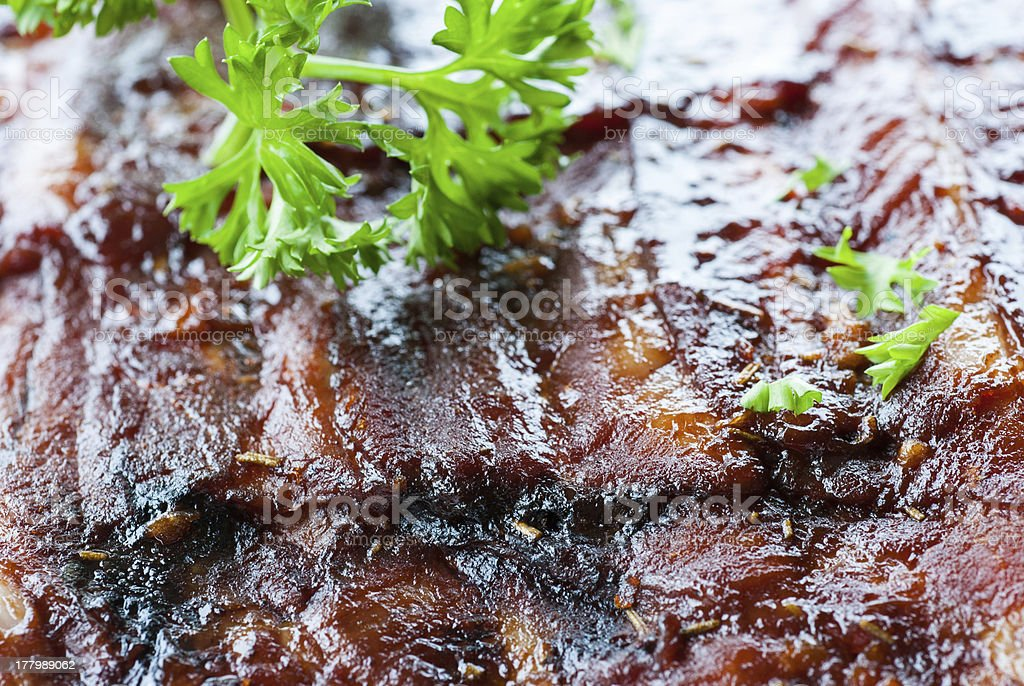 grilled juicy barbecue pork ribs royalty-free stock photo
